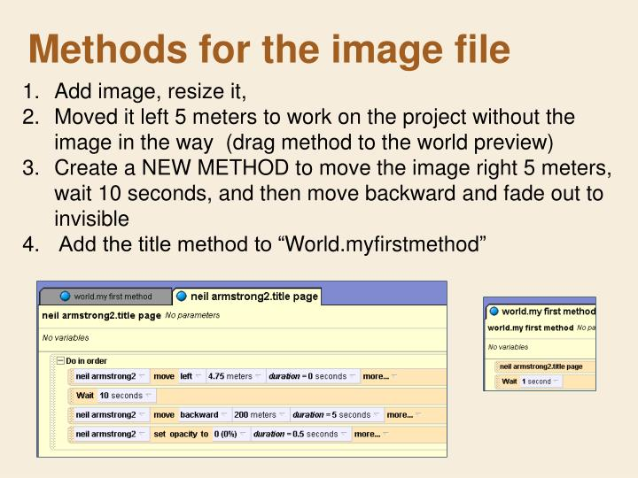 Methods for the image file