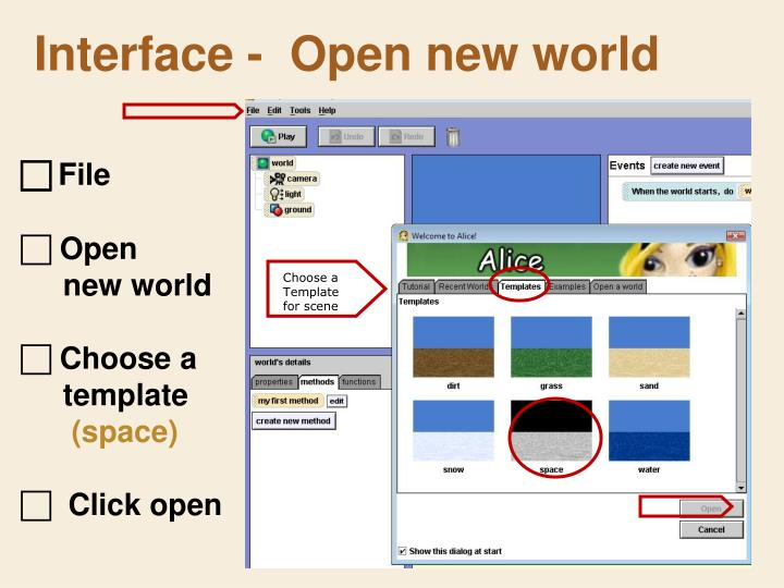 Interface -  Open new world