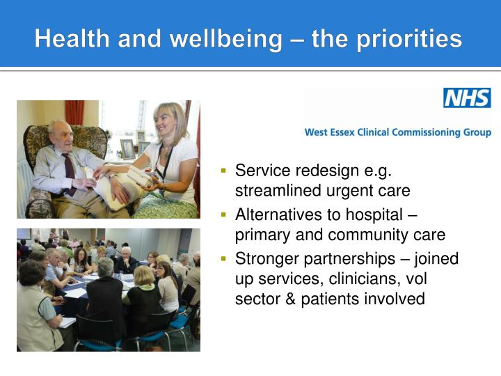 Health and wellbeing – the priorities
