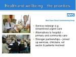 health and wellbeing the priorities