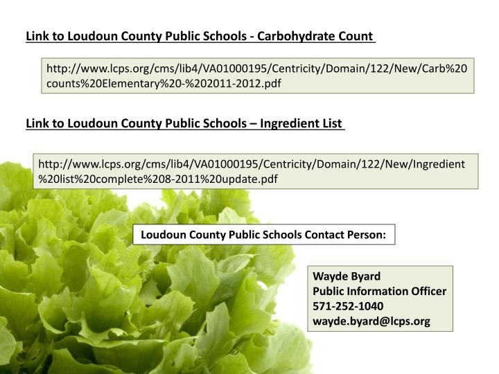 Link to Loudoun County Public Schools - Carbohydrate Count