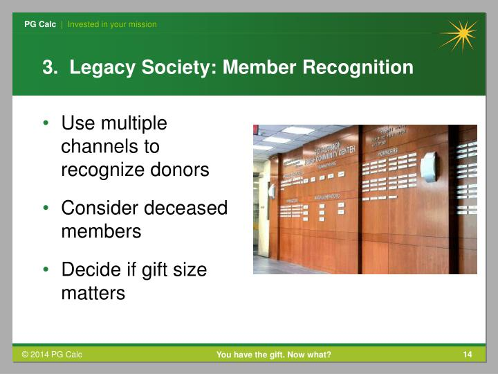 3.  Legacy Society: Member Recognition