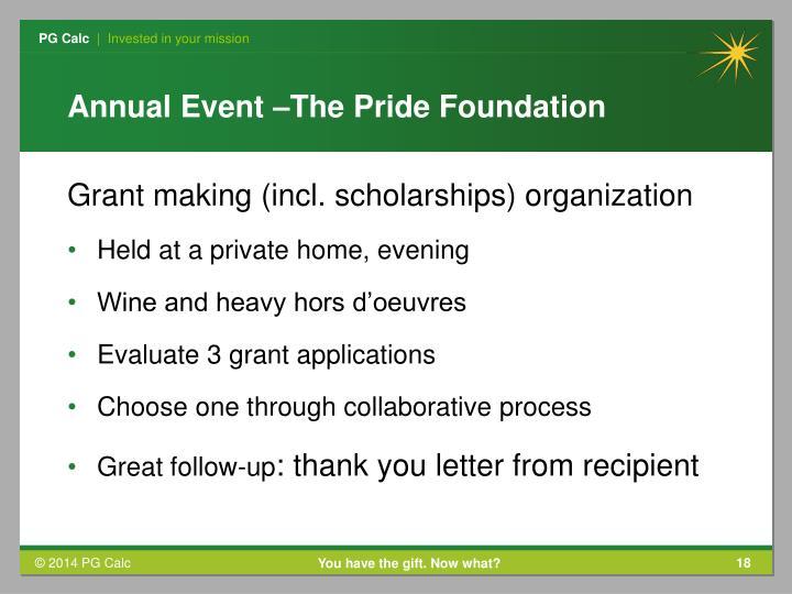 Annual Event –The Pride Foundation