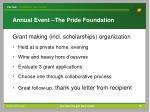 annual event the pride foundation