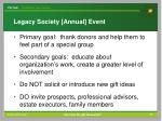 legacy society annual event