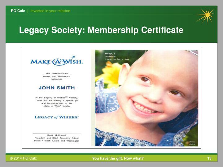 Legacy Society: Membership Certificate