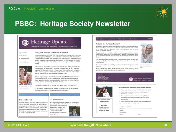 PSBC:  Heritage Society Newsletter