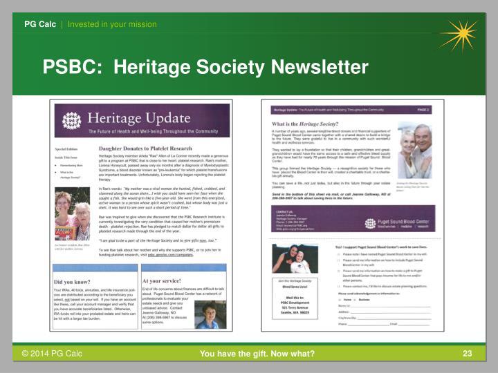 PSBC:  Heritage Society Newsletter