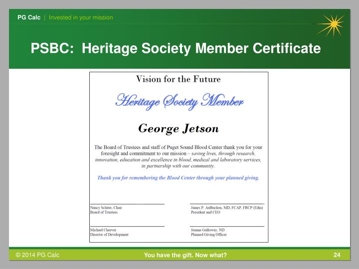 PSBC:  Heritage Society Member Certificate