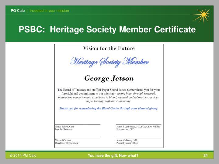 PSBC:  Heritage Society Member Certificate