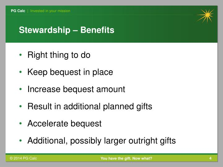 Stewardship – Benefits