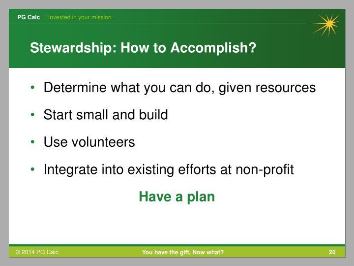 Stewardship: How to Accomplish?
