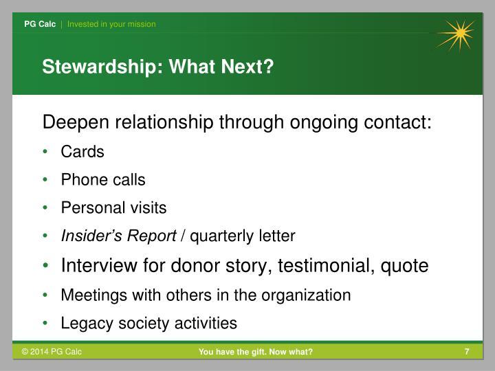 Stewardship: What Next?