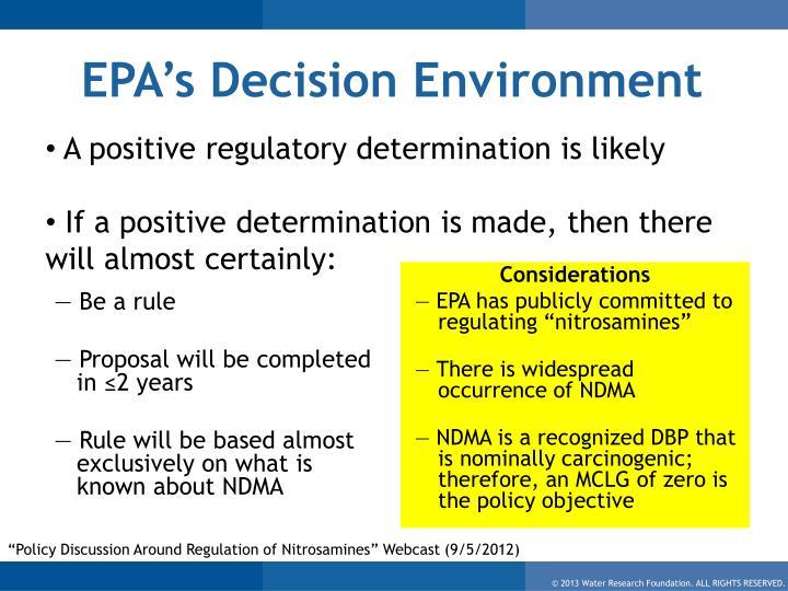 EPA's Decision Environment