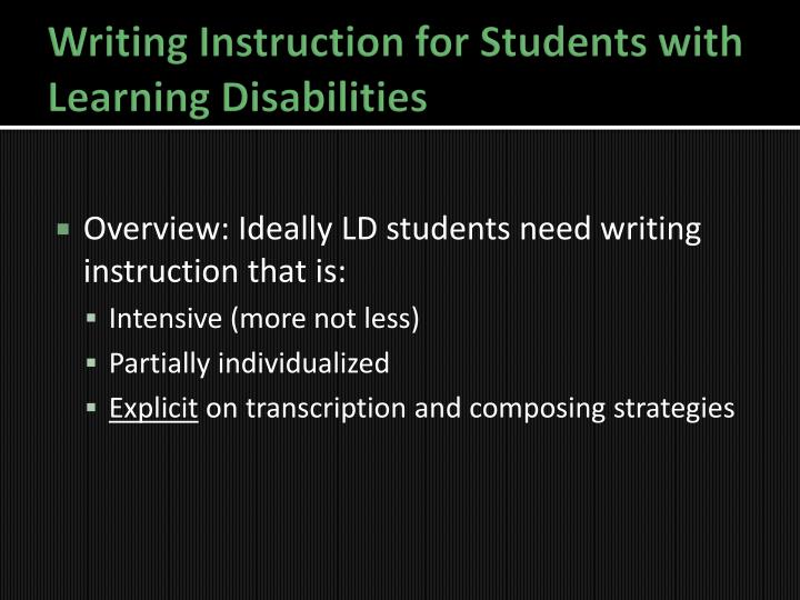 essay on students with learning disabilities An anonymous faculty member discusses the questions raised by a recent experience teaching a student with intellectual disabilities.