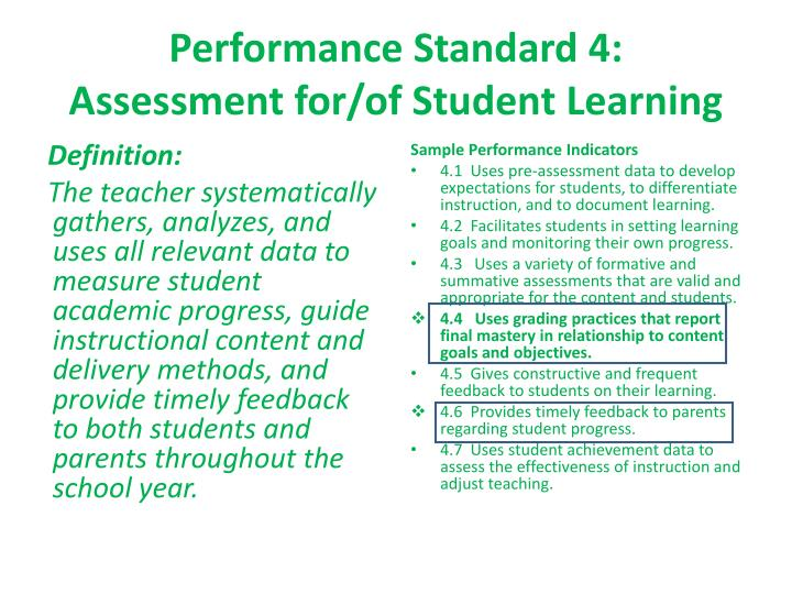Performance Standard 4: