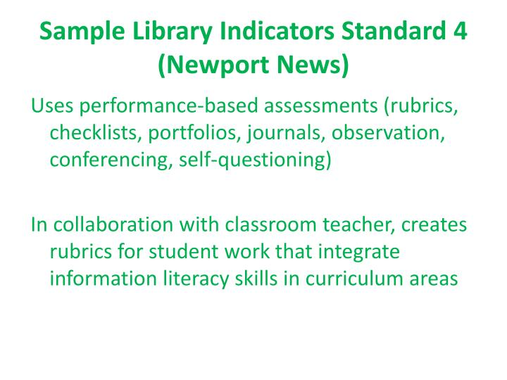 Sample Library Indicators Standard 4 (Newport News)