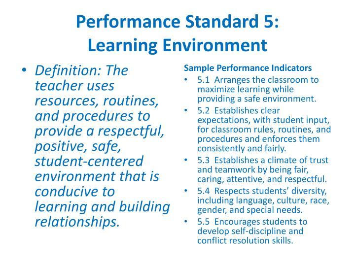 Performance Standard 5: