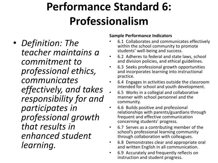Performance Standard 6:
