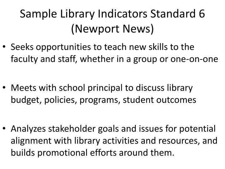 Sample Library Indicators Standard 6 (Newport News)