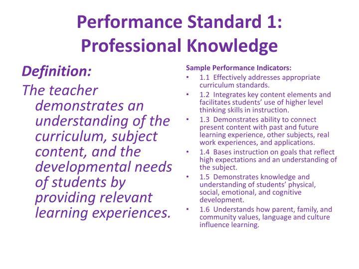 Performance Standard 1: