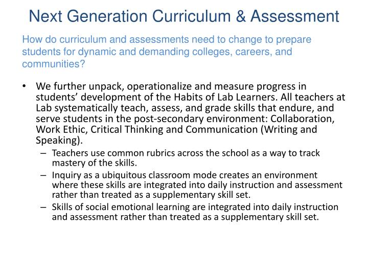 Next Generation Curriculum & Assessment