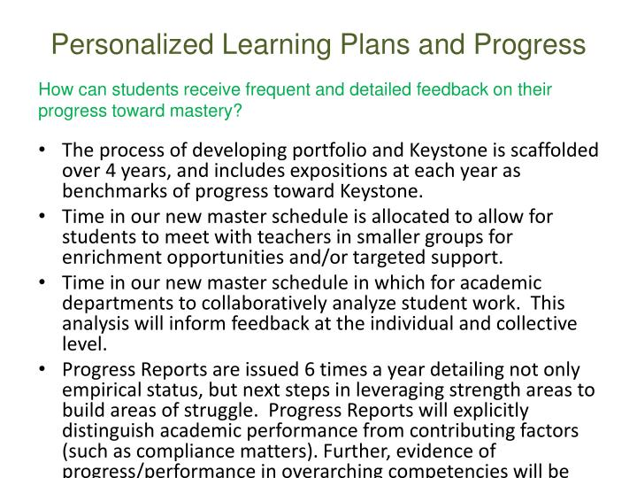 Personalized Learning Plans and Progress
