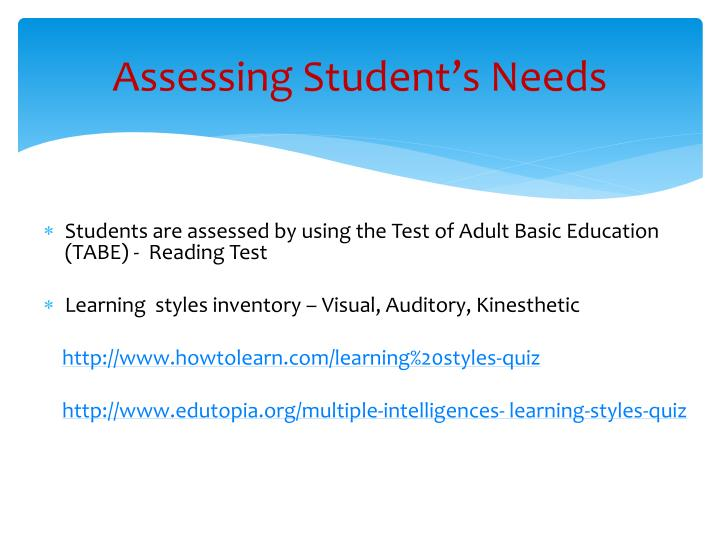 Assessing Student's Needs