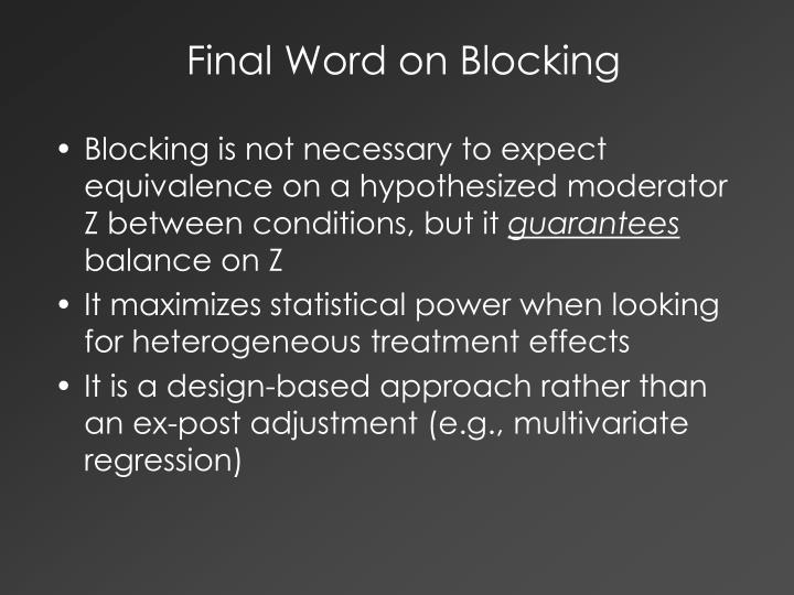 Final Word on Blocking
