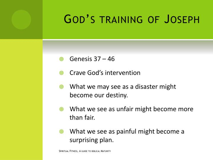 God's training of Joseph