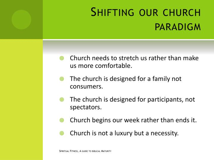 Shifting our church paradigm