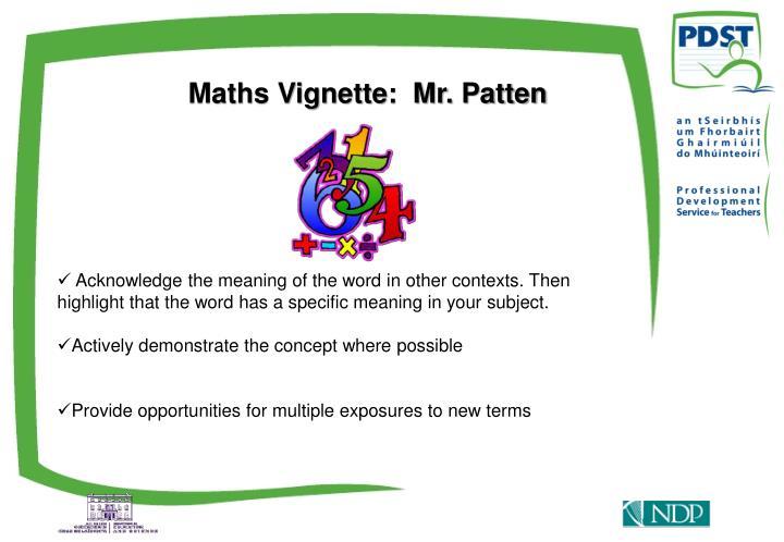 Maths Vignette:  Mr. Patten