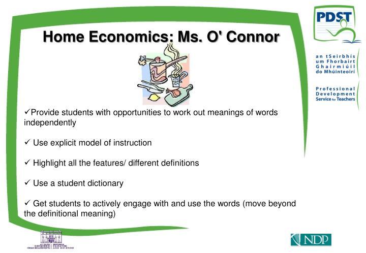 Home Economics: Ms. O' Connor