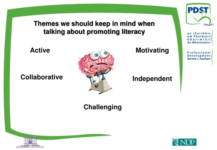 Themes we should keep in mind when talking about promoting literacy
