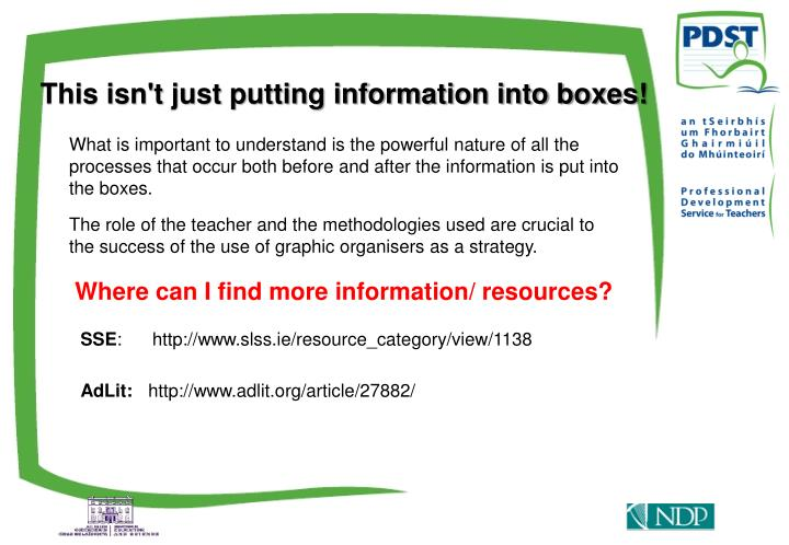 This isn't just putting information into boxes!