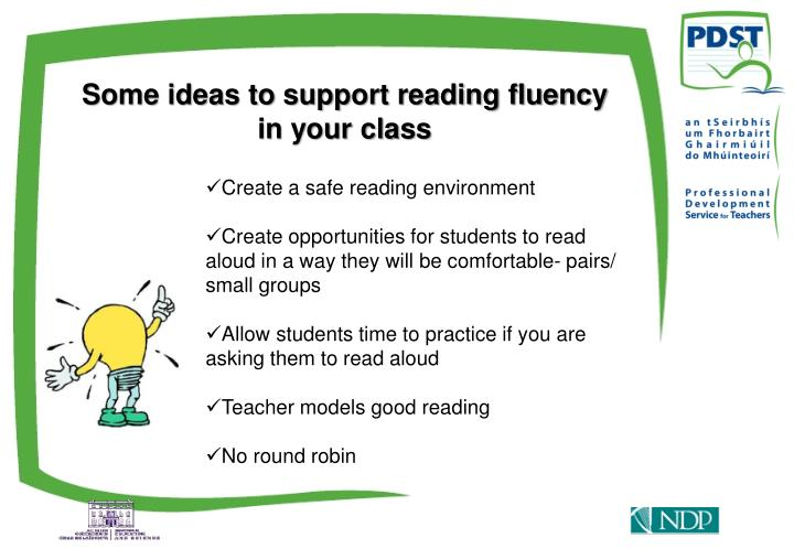 Some ideas to support reading fluency in your class