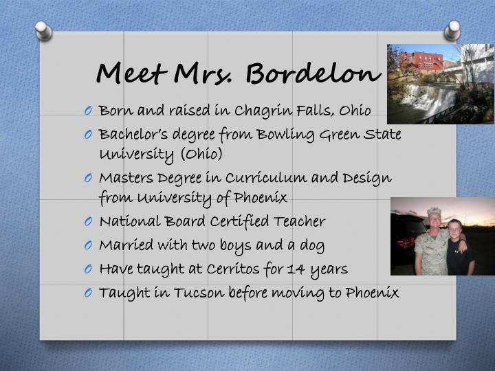 Meet Mrs. Bordelon