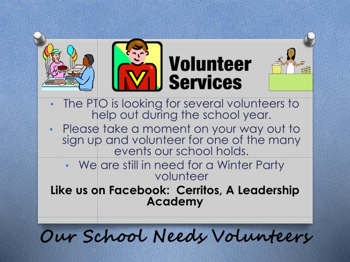 Our School Needs Volunteers