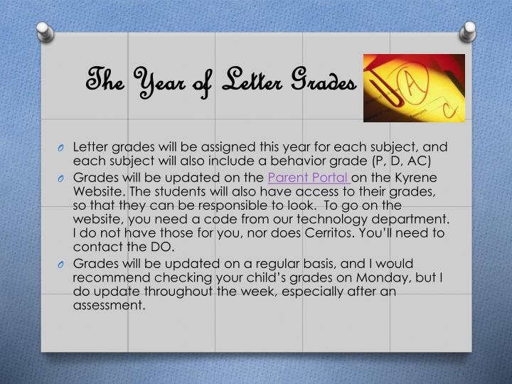 The Year of Letter Grades