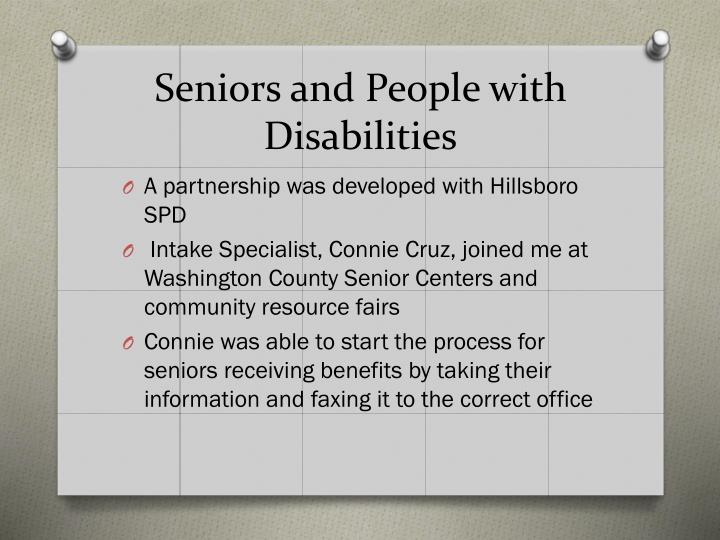 Seniors and People with Disabilities