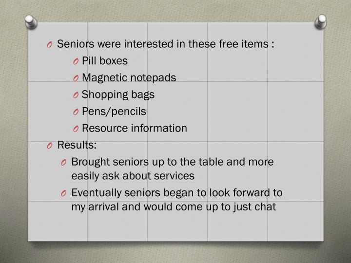 Seniors were interested in these free items :