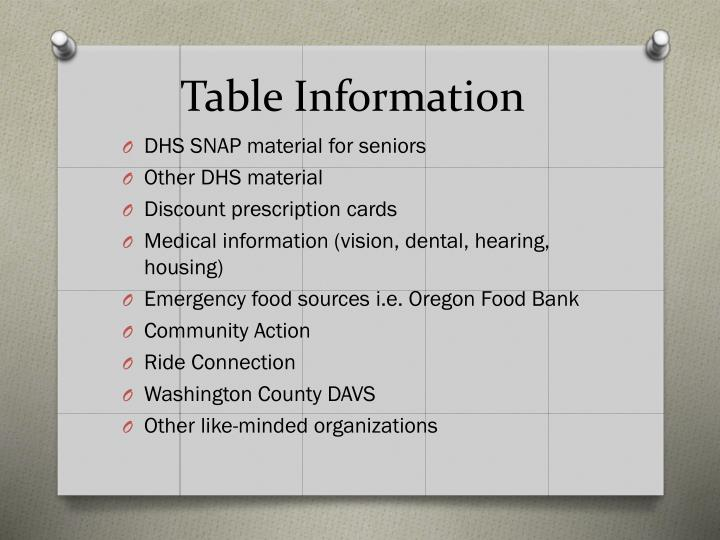 Table Information