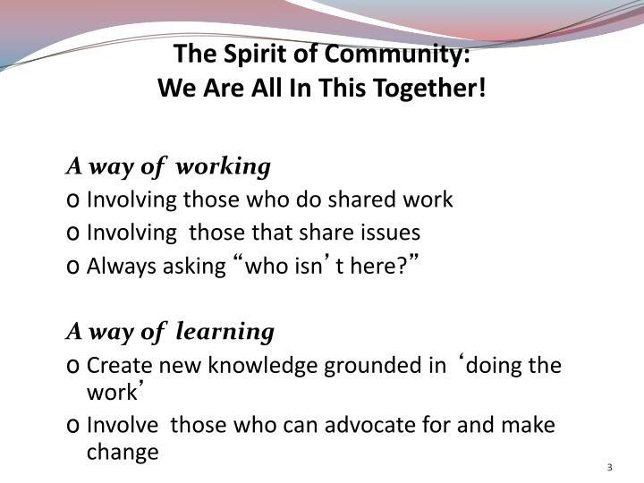 The Spirit of Community: