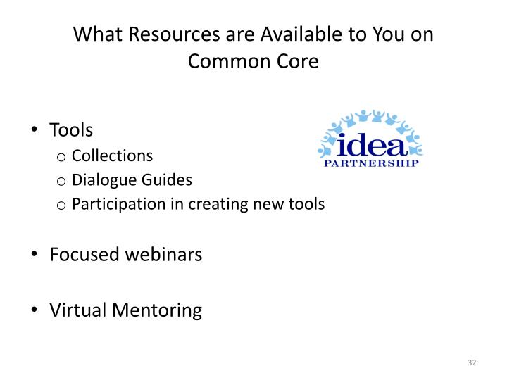 What Resources are Available to You on Common Core