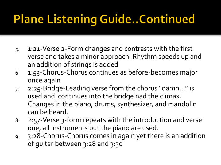 Plane Listening Guide..Continued