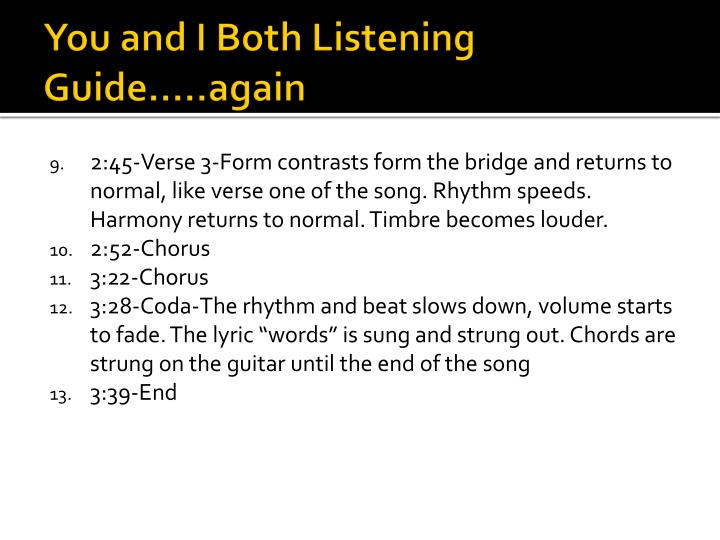 You and I Both Listening Guide…..again