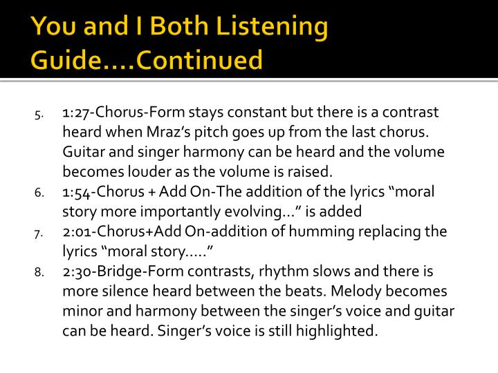 You and I Both Listening Guide….Continued
