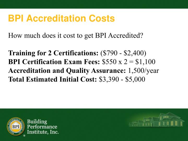 BPI Accreditation Costs