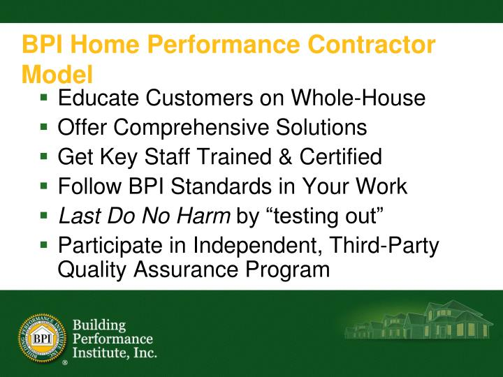 BPI Home Performance Contractor Model
