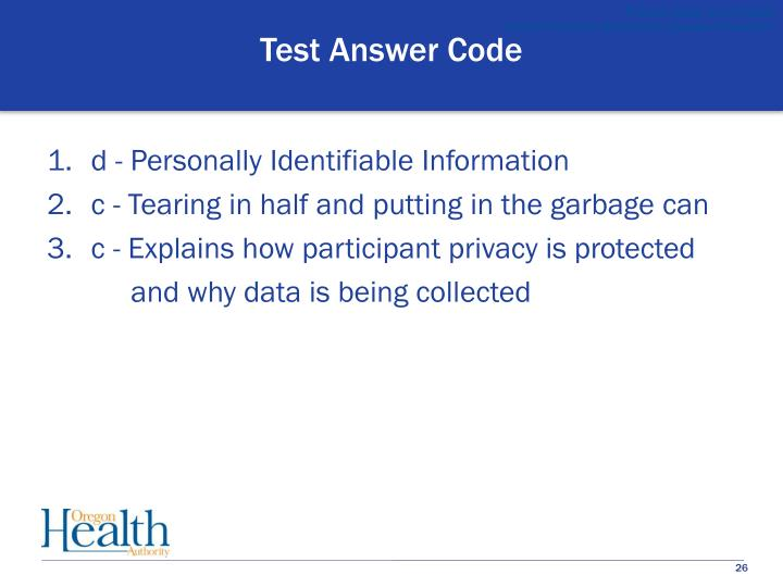 Test Answer Code